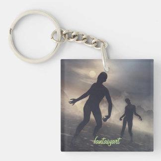 porte-clés avec des illustrations de zombi