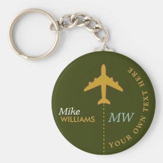 Porte-clés avion sur le porte - clé verdâtre avec le nom