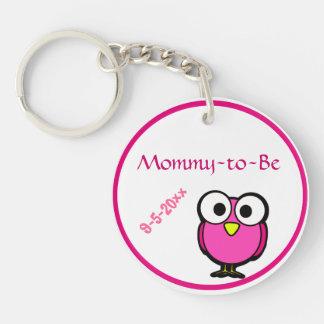 Porte-clés Baby shower rose de hibou