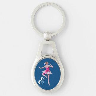 Porte-clés Ballerine dans rose et blanc avec le monogramme