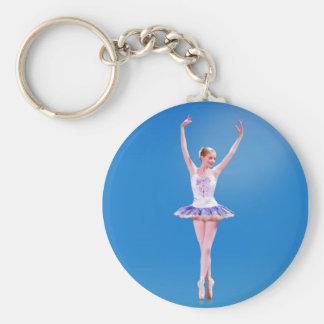 Porte-clés Ballerine sur le point dans le porte - clé bleu et