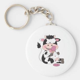 Porte-clés Bande dessinée mignonne de vache à bébé avec son