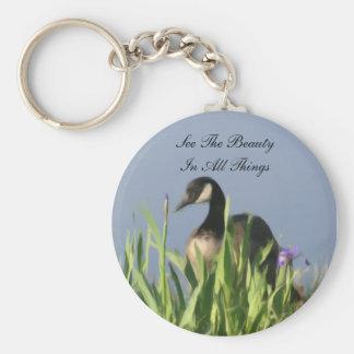 Porte-clés Beauté d'oie du Canada inspirée