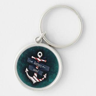 Porte-clés Bleu blanc rouge de rayure d'ancre nautique