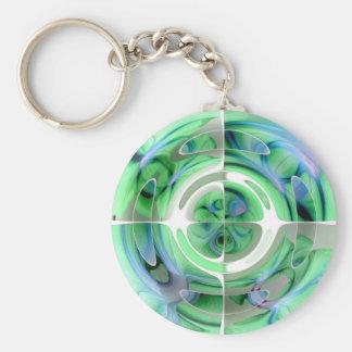 Porte-clés Bleu Cerulean et collage abstrait de jade