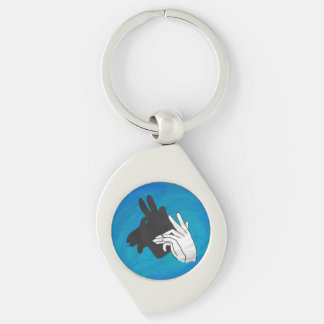 Porte-clés Bleu de chèvre de Billy de silhouette de main