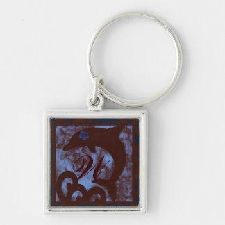 Porte-clés Bleu de dauphin et porte - clé de monogramme de