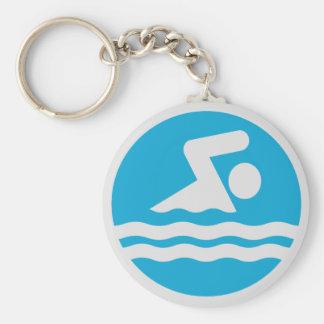Porte-clés bleu et blanc de décalque de bain de