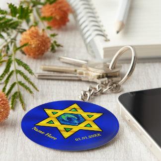 Porte-clés Bleu et faveurs de Mitzvah de barre personnalisées