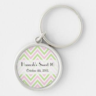 Porte-clés Bonbon 16 - Motif de zigzag, Chevron - rose vert