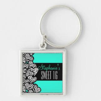 Porte-clés Bonbon à coeur de zèbre de turquoise porte - clé