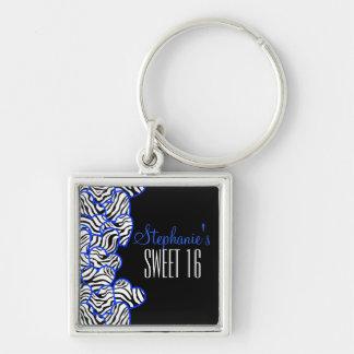 Porte-clés Bonbon bleu doux à coeur de zèbre porte - clé de