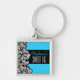 Porte-clés Bonbon bleu mignon à coeur de zèbre porte - clé de