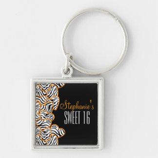 Porte-clés Bonbon orange à coeur de zèbre porte - clé de 16