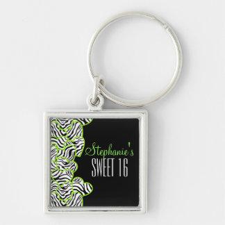 Porte-clés Bonbon vert doux à coeur de zèbre porte - clé de