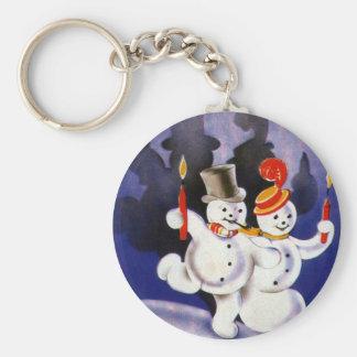 Porte-clés Bonhommes de neige vintages de danse de Noël avec