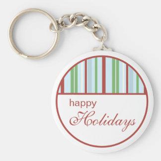 Porte-clés Bonnes fêtes porte - clé rayé de Noël