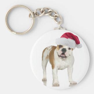 Porte-clés Bouledogue dans Noël de casquette de Père Noël