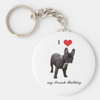 Porte-clés Bouledogue français, j'aime le coeur, porte - clé,