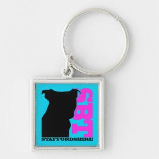 Porte-clés Bull-terrier bleu/rose de porte - clé de SBT du
