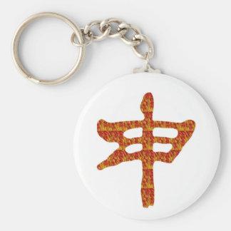 Porte-clés CADEAU rouge d'or de caractère chinois de