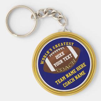 Porte-clés Cadeaux d'entraîneur de football américain de bleu