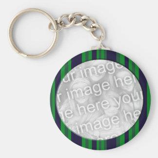 Porte-clés Cadre rayé bleu et vert de photo