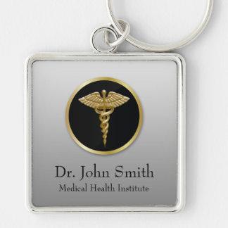 Porte-clés Caducée médical professionnel d'or - porte - clé