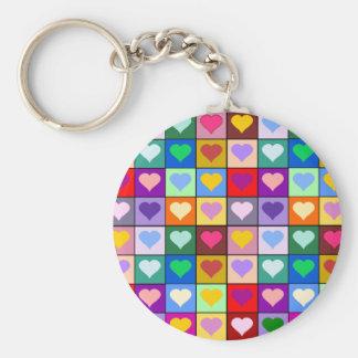 Porte-clés Carrés multicolores de coeur