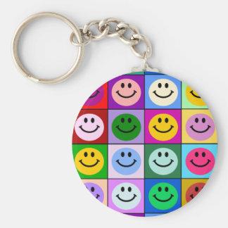 Porte-clés Carrés souriants multicolores