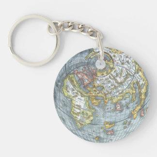 Porte-clés Carte antique en forme de coeur vintage Peter du