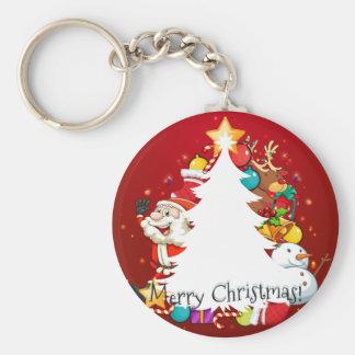 Porte-clés Carte de Joyeux Noël avec Père Noël et l'arbre