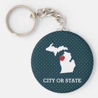 Porte-clés Carte de ville de l'État d'origine du Michigan -