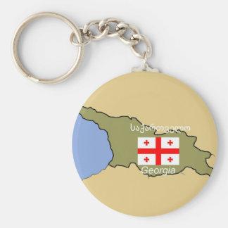 Porte-clés Carte et drapeau de la Géorgie