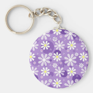 Porte-clés Cercles pourpres de guingan de rétros marguerites