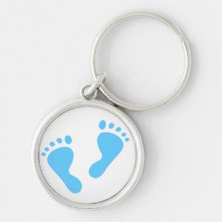 Porte-clés C'est un garçon - pieds de bébé bleu