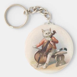 Porte-clés Chat anthropomorphe jouant le violoncelle