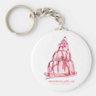 Porte-clés chat élégant de gelée de la fraise des fernandes