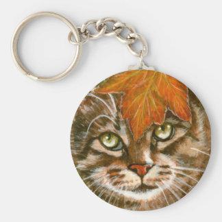 Porte-clés Chat tigré avec le porte - clé de feuille
