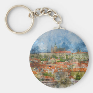 Porte-clés Château de Prague avec le pont célèbre de Charles