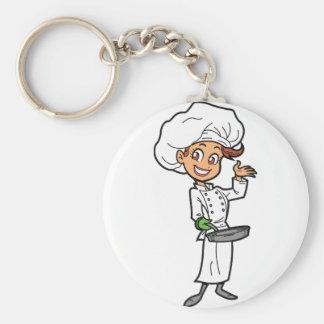 Porte-clés Chef féminin avec un porte - clé de poêle