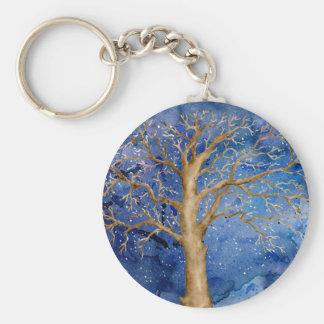 Porte-clés Chêne d'hiver d'aquarelle