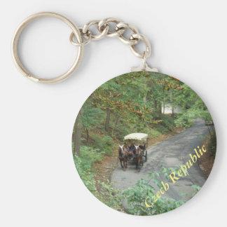 Porte-clés Cheval et chariot tchèques en bas d'un chemin
