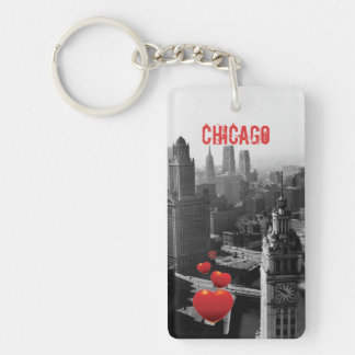 Porte-clés Chicago Skyline1930 de photographie ci-dessus de