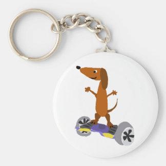 Porte-clés Chien drôle de teckel sur Hoverboard