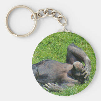 Porte-clés Chimpanzé de détente dans l'herbe - porte - clé