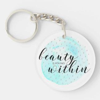 Porte-clés Citation de beauté d'aquarelle