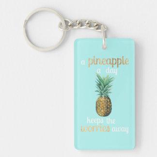 Porte-clés Citation de la vie d'ananas