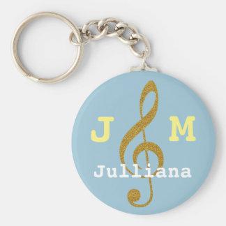 Porte-clés clef triple musicale girly faite sur commande