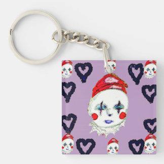 Porte-clés Clown heureux, porte - clé carré